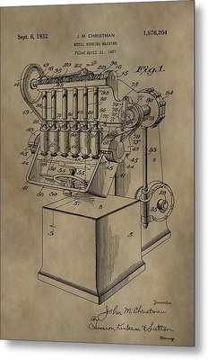 Metal Working Machine Patent Metal Print by Dan Sproul