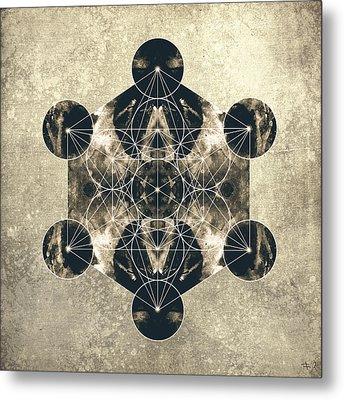 Metatron's Cube Silver Metal Print