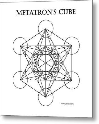 Metatron's Cube - White Metal Print by Jelila Jelila