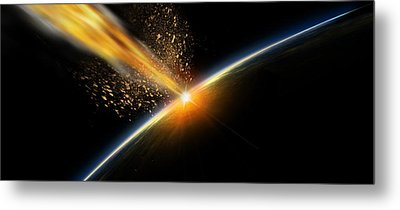 Meteor Hitting Earth Metal Print by Panoramic Images