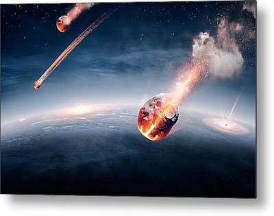 Meteorites On Their Way To Earth Metal Print by Johan Swanepoel