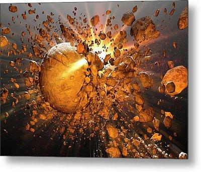 Meteors Making Impact In Space Metal Print