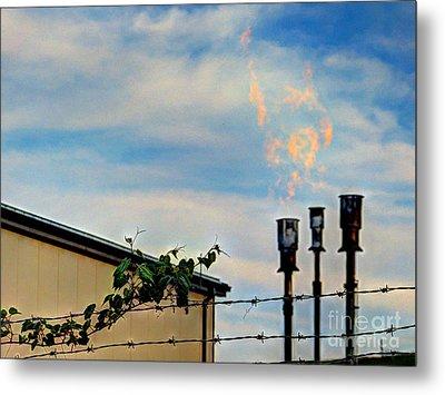 Methane Flares Metal Print by MJ Olsen