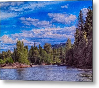 Methow River Crossing Metal Print by Omaste Witkowski