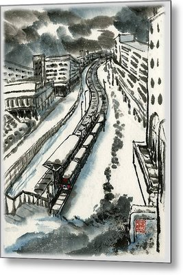 Metal Print featuring the painting Metro Train At Central Wester-end by Ping Yan