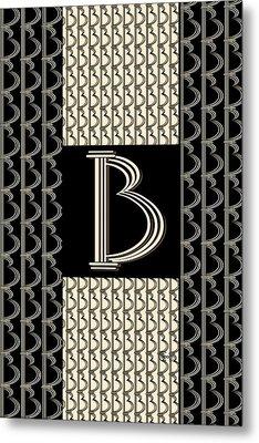 Metropolitan Park Deco 1920s Monogram Letter Initial B Metal Print by Cecely Bloom