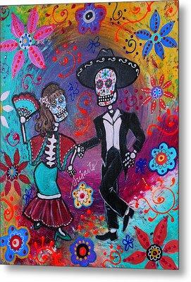 Mexican Couple Bailar Dancers Mariachi Metal Print by Pristine Cartera Turkus