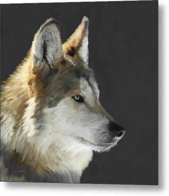 Mexican Grey Wolf Portrait Freehand Metal Print by Ernie Echols