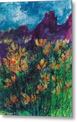 Mexican Poppies Metal Print by Elaine Elliott