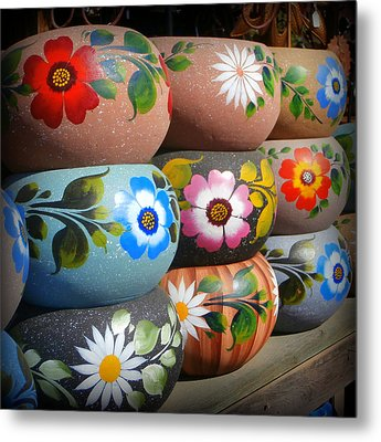 Mexican Pottery In Old Town Metal Print