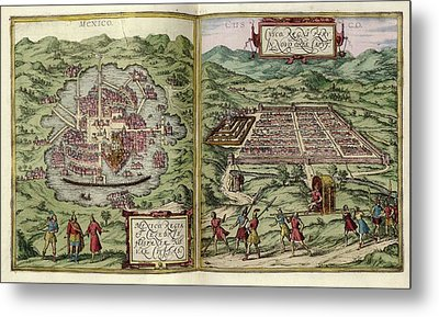 Mexico City And Cusco Metal Print by Library Of Congress, Geography And Map Division