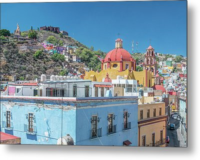 Mexico, Rooftop View Of Guanajuato Metal Print by Rob Tilley