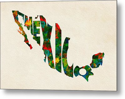 Mexico Typographic Watercolor Map Metal Print by Ayse Deniz