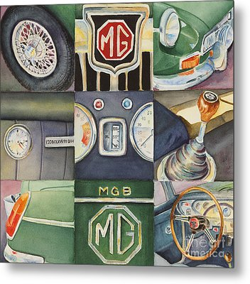 Mg Car Collage Metal Print by Karen Fleschler