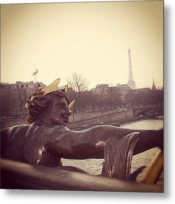 #mgmarts #france #paris #statue #bridge Metal Print by Marianna Mills