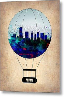 Miami Air Balloon Metal Print by Naxart Studio