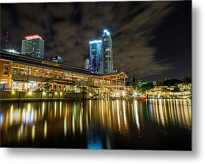 Miami Bayside At Night Metal Print by Andres Leon