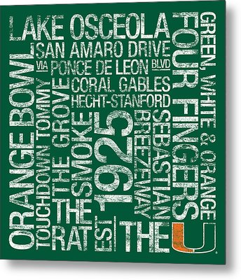 Miami College Colors Subway Art Metal Print