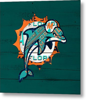 Miami Dolphins Football Team Retro Logo Florida License Plate Art Metal Print by Design Turnpike