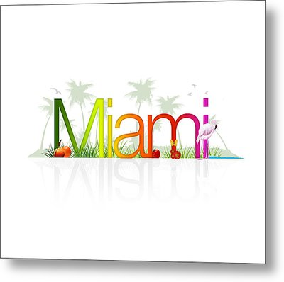 Miami- Florida Metal Print by Aged Pixel