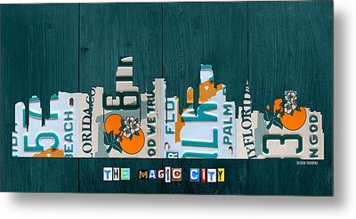 Miami Florida City Skyline Vintage License Plate Art On Wood Metal Print by Design Turnpike
