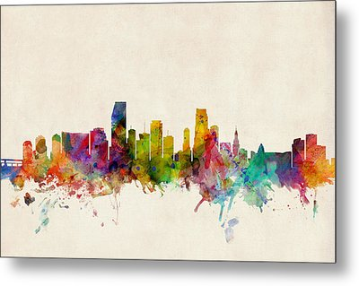 Miami Florida Skyline Metal Print by Michael Tompsett