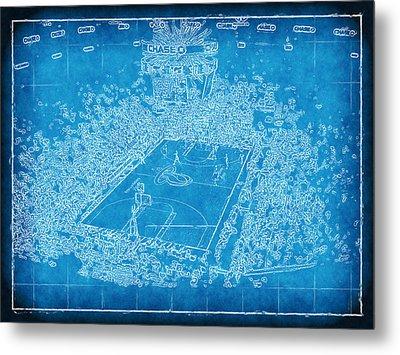Miami Heat Arena Blueprint Metal Print by Joe Myeress
