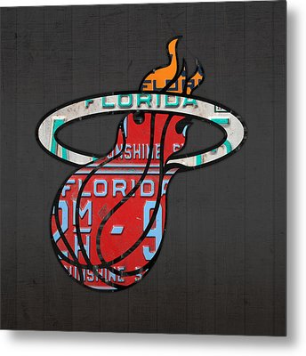 Miami Heat Basketball Team Retro Logo Vintage Recycled Florida License Plate Art Metal Print by Design Turnpike