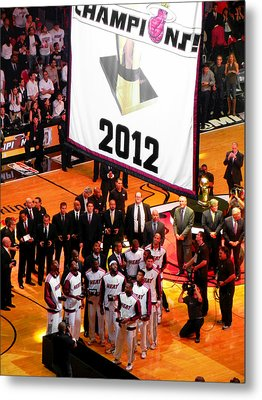 Metal Print featuring the photograph Miami Heat Championship Banner by J Anthony