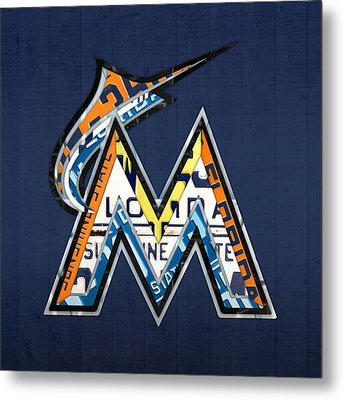 Miami Marlins Baseball Team Vintage Logo Recycled Florida License Plate Art Metal Print by Design Turnpike