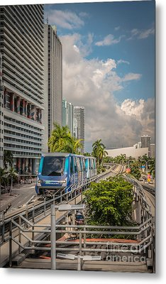 Miami Metro Mover Approaching Station - Hdr Style Metal Print