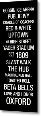 Miami Ohio College Town Wall Art Metal Print
