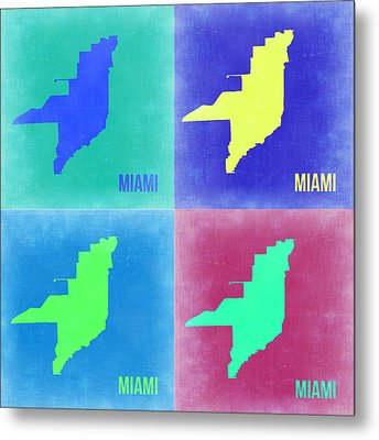 Miami Pop Art Map 2 Metal Print by Naxart Studio