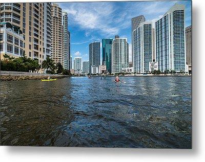 Miami River Kayakers Metal Print by Jonathan Gewirtz