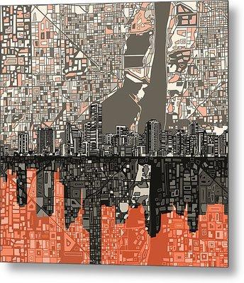 Miami Skyline Abstract 2 Metal Print