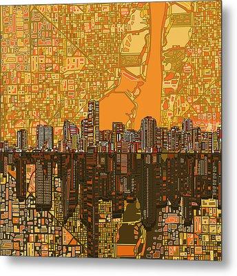 Miami Skyline Abstract 5 Metal Print