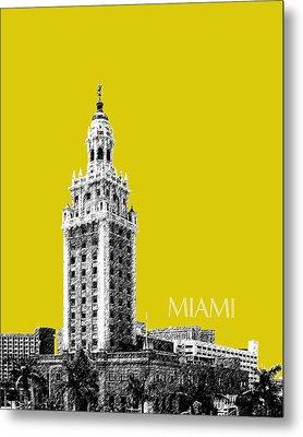 Miami Skyline Freedom Tower - Mustard Metal Print by DB Artist