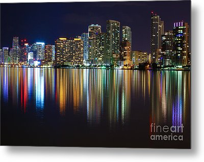 Miami Skyline IIi High Res Metal Print by Rene Triay Photography