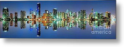 Metal Print featuring the photograph Miami Skyline Panorama by Carsten Reisinger
