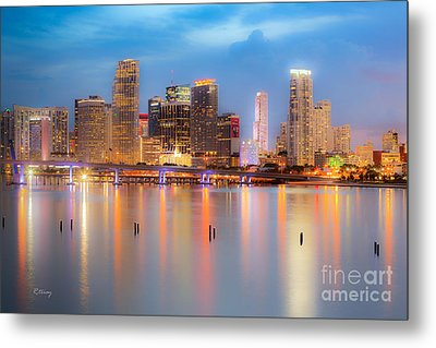 Miami Skyline On A Still Night- Soft Focus  Metal Print