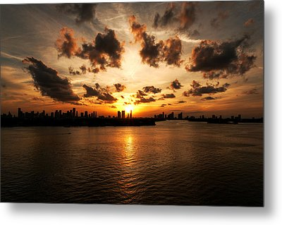 Metal Print featuring the photograph Miami Skyline Sunset by Gary Dean Mercer Clark
