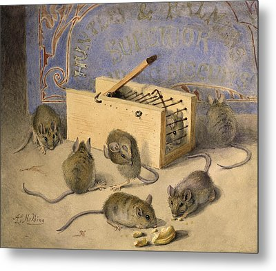 Mice And Huntley Palmers Superior Biscuits Metal Print by Agnes Louise Holding