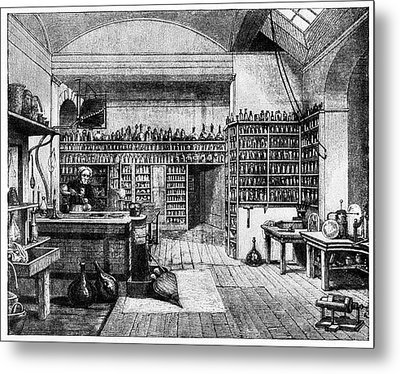 Michael Faraday In His Lab Metal Print by Cci Archives