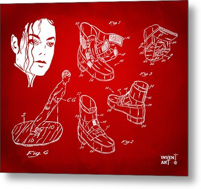 Michael Jackson Anti-gravity Shoe Patent Artwork Red Metal Print