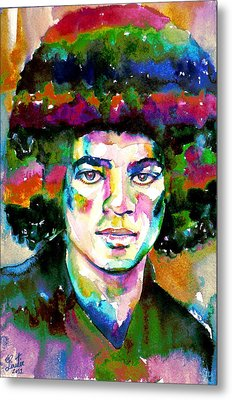 Michael Jackson - Watercolor Portrait.11 Metal Print by Fabrizio Cassetta