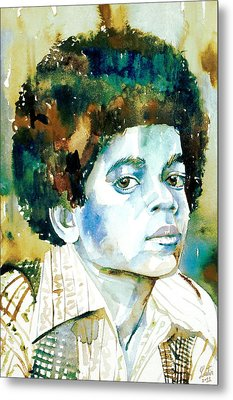 Michael Jackson - Watercolor Portrait.12 Metal Print by Fabrizio Cassetta