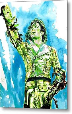 Michael Jackson - Watercolor Portrait.14 Metal Print by Fabrizio Cassetta