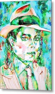 Michael Jackson - Watercolor Portrait.15 Metal Print by Fabrizio Cassetta