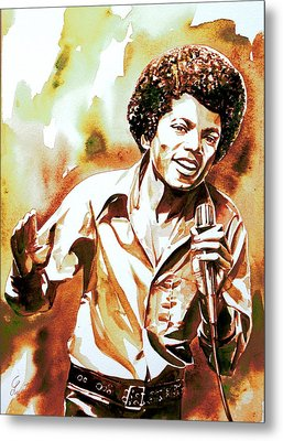 Michael Jackson - Watercolor Portrait.18 Metal Print by Fabrizio Cassetta