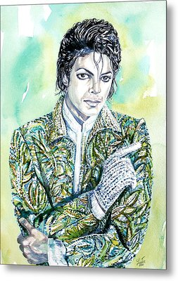 Michael Jackson - Watercolor Portrait.19 Metal Print